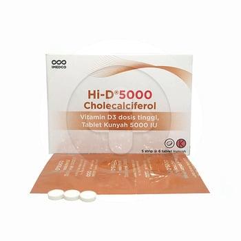 HI-D 5000 digunakan untuk menambah asupan vitamin D pada pasien yang kekurangan vitamin D