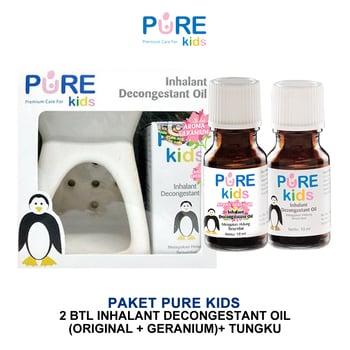 Pure Kids Inhalant Decongestant Original & Geranium & Tungku Paket