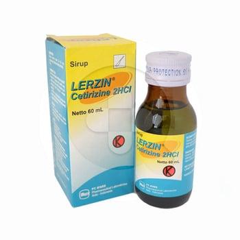 Lerzin sirup 60 ml untuk pengobatan perenial rhinitis, alergic rhinitis yang bersifat musiman, dan urtikaria idiopatik kronis.