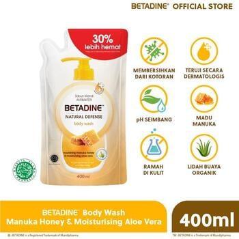 BETADINE Body Wash Antibacterial Manuka Honey Refill 400 mL harga terbaik 38700