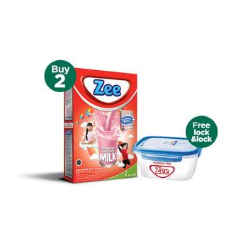 Buy 2 Zee Reguler Strawberry Milk 350 g - Free Lock & Lock harga terbaik 87000
