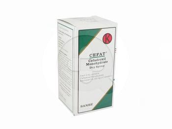 Cefat sirup kering 60 ml adalah obat yang digunakan untuk pengobatan infeksi yang disebabkan oleh mikroorganisme yang sensitif seperti infeksi saluran pernafasan, infeksi kulit, infeksi saluran kemih dan kelamin.