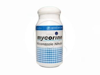 Mycorine powder berfungsi untuk mengatasi infeksi jamur di kulit dan mengurangi gatal-gatal di area lipatan tubuh