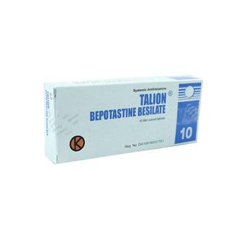 Talion tablet 10 mg untuk mengobati peradangan yang terjadi pada rongga hidung akibat reaksi alergi (rinitis alergi) dan biduran.