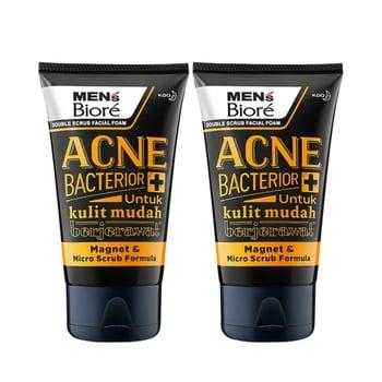 Men's Biore Double Scrub Facial Foam Anti Bacterior 100 g - Twinpack