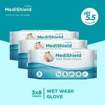 Medishield by Paseo Wet Wash Glove 8 Sheets x 3 Packs harga terbaik 76500