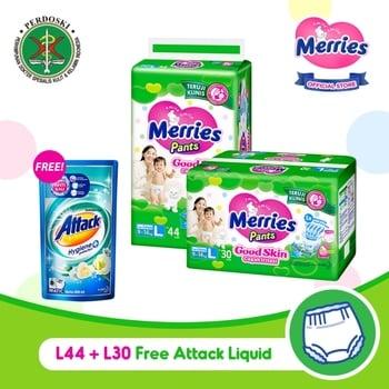 Merries Pants Good Skin L 44S + L30S - FREE Attack Liquid 800 ml harga terbaik 217500