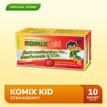 Komix Kid Strawberry digunakan untuk meredakan batuk berdahak, batuk alergi, dan pilek
