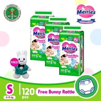 Merries Pants Good Skin S 40S - Triple Pack FREE Bunny Rattle harga terbaik 227200