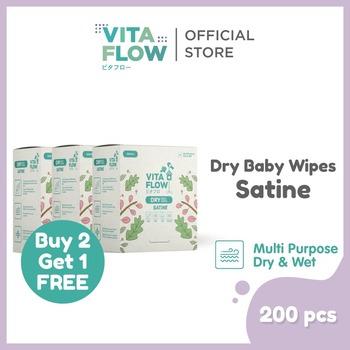 tisu basah anti bakteri - Vitaflow Dry Tissue Satine 200 Lembar - Buy 2 Get 1 Free