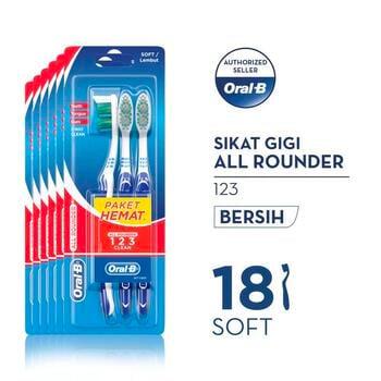Oral-B Sikat Gigi All Rounder 123 Soft 3s - Paket isi 6 harga terbaik 81000