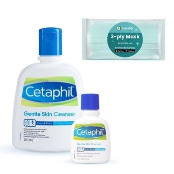 Cetaphil Gentle Skin Cleanser 250ml + Gentle Skin Cleanser 59ml FREE Masker SehatQ harga terbaik 228900