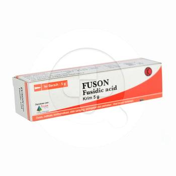 Fuson krim 5 g untuk pengobatan infeksi kulit primer dan sekunder yang disebabkan oleh bakteri.