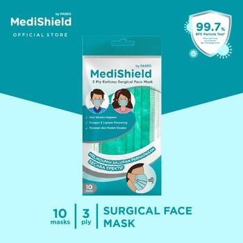 Medishield by Paseo Masker Surgical Earloop 3Ply Sachet isi 10pcs/Sachet harga terbaik
