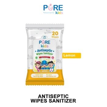 Pure Kids Antiseptic Wipes Sanitizer Lemon 20's harga terbaik 21384