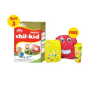 Buy 3 Morinaga Chil Kid Gold Vanilla 800 g - Free Lunch Set harga terbaik