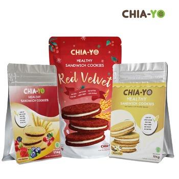 Chia-Yo Bundling Cookies Sandwich Red Velvet + Vanilla + Mix Berries harga terbaik