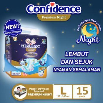 Confidence Popok Dewasa Premium Night L 15 harga terbaik 93500