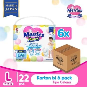 Merries Baby Diaper Pants L 22's - 1 Karton harga terbaik 714978