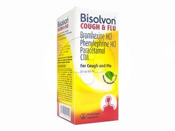 Bisolvon batuk dan flu sirup 60 ml adalah obat yang digunakan ntuk meredakan gejala flu