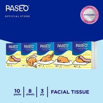 Paseo Character Tissue Wajah Hanky Gudetama 8 Sheets - 10 Packs harga terbaik 15290