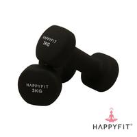Happyfit Dumbbell Neoprene 3 Kg (2 Pcs) - Black