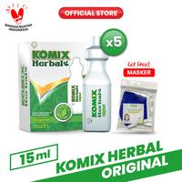 Komix Herbal Original Tube 5 Pack (20 Tube) FREE Masker