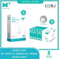 M+ Masker KN95 (10 Pcs) & Masker Medis Headloop (50 Pcs) - Bundling