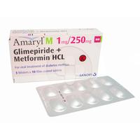 Amaryl M Tablet 1 mg/250 mg (3 Strip @ 10 Tablet)