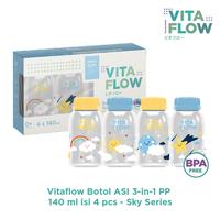 (NEW) VITAFLOW Botol ASI 3in1 PP 140 ml 1 Paket 4 Pcs - Sky Series