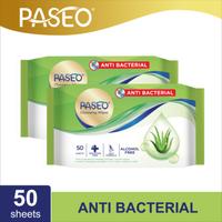 Paseo Tissue Basah Anti Bacterial 50 Sheets x 2 Packs