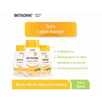 BETADINE Body Wash Manuka Honey Bottle 200 mL - 3 Pcs