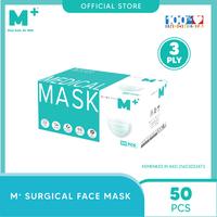 M+ Masker Medis Earloop 3 Ply (50 Pcs)