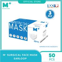 M+ Masker Medis Earloop 3 Ply Putih (50 Pcs)