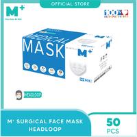 M+ Masker Medis Headloop 3 Ply Putih (50 Pcs)