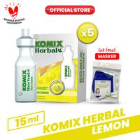 Komix Herbal Lemon Tube 5 Pack (20 Tube) FREE Masker