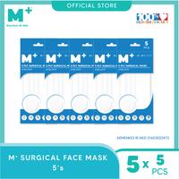 M+ Masker Medis Earloop 3 Ply Putih (5 Pcs) - Paket 5 Sachet