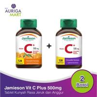 Jamieson Vitamin C Plus 500 mg Chewable Grapes and Orange (120 Tablet  x 2 Botol)