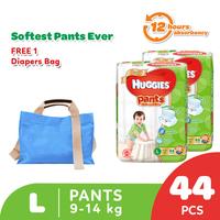 Huggies Gold Pants Popok Celana L 44 - 2 Pack Free Diaper Bag