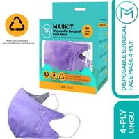 Maskit Masker Duckbill Earloop Dewasa 4Ply - Ungu (10 Pcs)
