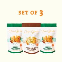 Casa Grata Crackers Set of 3 - 2 Herbs dan 1 Sesame & Chia