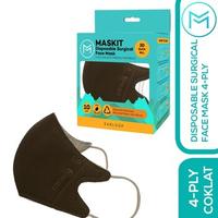Maskit Masker Duckbill Earloop Dewasa 4Ply - Dark Series - Coklat Tua (10 Pcs)