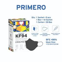 Primero Masker KF94 4Ply Hitam (1 Box @ 50 Pcs)