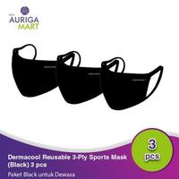 Dermacool Masker Kain Olahraga Adult - Black (3 Pcs)