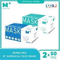 M+ Masker Medis Earloop Putih (50 Pcs) & Earloop Hijau (50 Pcs) - Bundling