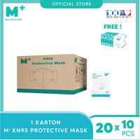 M+ Masker KN95 5 Ply (1 Karton) - FREE 1 Box Surgical Mask