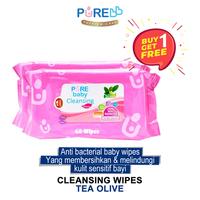 Pure Baby Cleansing Wipes Tea Olive 60's - Beli 1 Gratis 1
