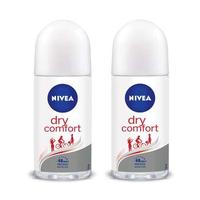 NIVEA Deodorant Dry Comfort Roll On 50 ml - Twin Pack