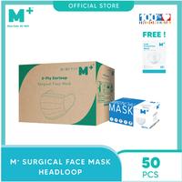 M+ Masker Medis Earloop Putih 3Ply (1 Karton) - FREE 1 Box Masker KN95