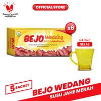 Bejo Susu Jahe Merah (SUJAMER) 6 Pack (30 Sachet) FREE Gelas